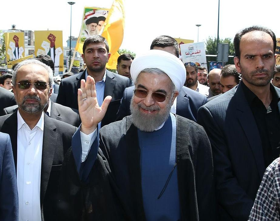 President Hassan Rouhani attends a rally to mark Quds (Jerusalem) day in Tehran on July 10, 2015 (AFP Photo/)