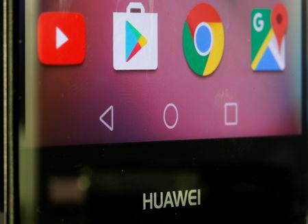 Google applications are seen on a Huawei smartphone in this illustration taken, May 20, 2019. REUTERS/Dado Ruvic/Illustration
