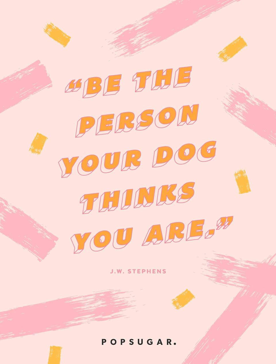 """<p><b>Quote:</b></p> <p>""""Be the person your dog thinks you are.""""</p> <p><strong>Lesson to learn:</strong></p> <p>Your dog thinks the world of you. He thinks of you as someone who deserves love, affection, and loyalty. And he sees you for who you are and loves you unconditionally. See yourself through your dog's eyes. Try to be what he thinks you are to the rest of the world - imagine what the difference you can make to the world.</p>"""
