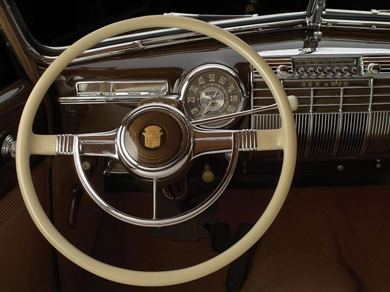 """This photo provided by Sotheby's, Wednesday, Oct. 23, 2013 in New York, shows the steering wheel of a 1941 Cadillac. Dubbed """"The Duchess,"""" the limousine was custom designed by General Motors for the former king of England and his American wife. (AP Photo/Sotheby's)"""