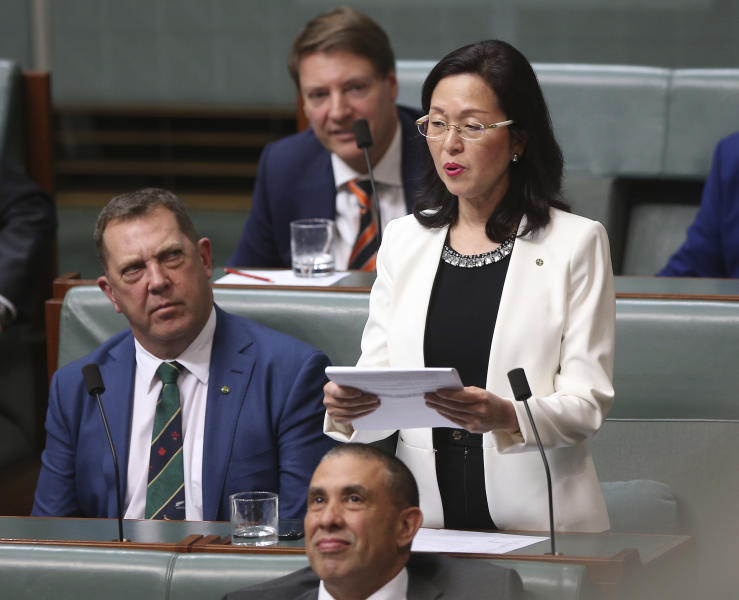 In this July 25, 2019, photo, Gladys Liu, the first Chinese-born lawmaker to be elected to Australia's Parliament, addresses the House of Representatives in Canberra, Australia. Liu has come under attack this week over her links to the Chinese foreign influence network. (AP Photo/Rod McGuirk)