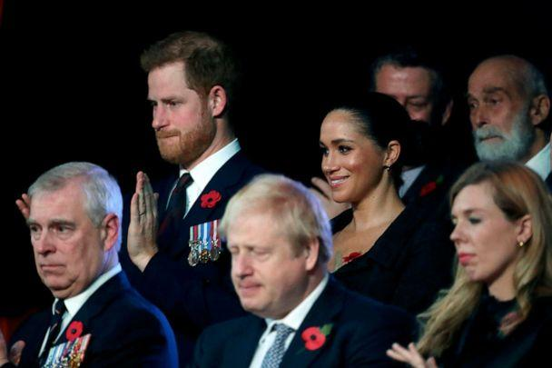 PHOTO: Prince Harry, Duke of Sussex and Meghan, Duchess of Sussex and Carrie Symonds attend the annual Royal British Legion Festival of Remembrance at the Royal Albert Hall in London, Nov. 9, 2019. (Chris Jackson/POOL/AFP/Getty Images)
