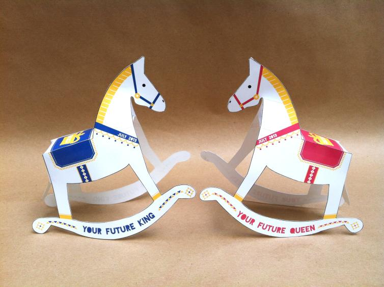 Dan Mackey, a British graphic designer, created these paper rocking horses to celebrate the new Royal.
