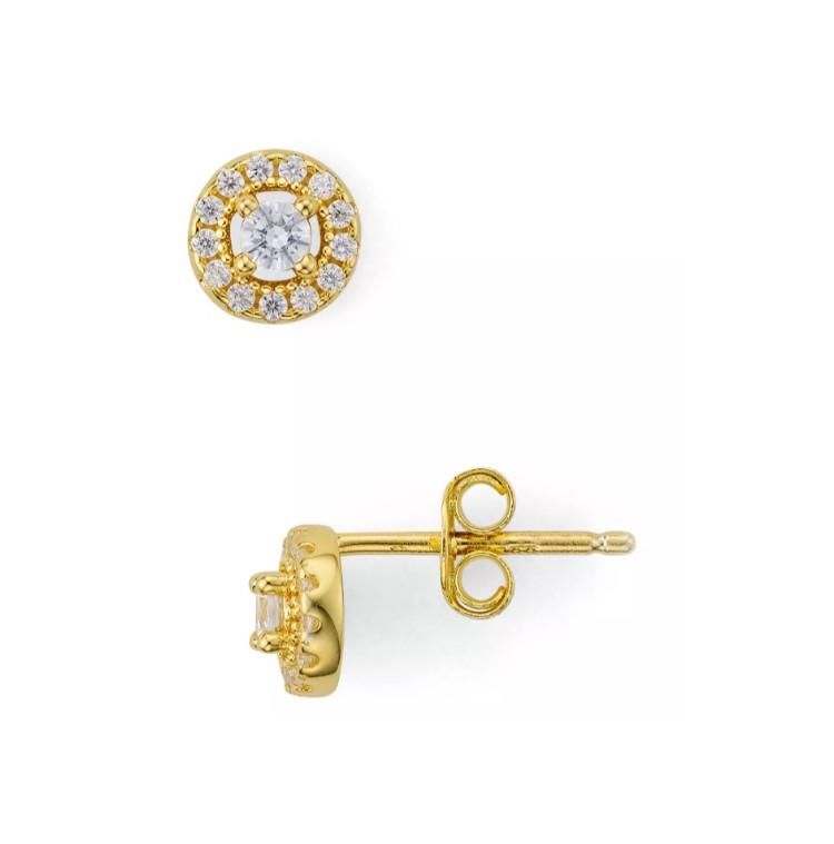 Mini Halo Earrings in 18K Gold-Plated Sterling Silver. (Photo: Bloomingdale's)