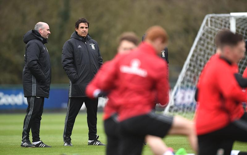 Chris Coleman looks on as Wales prepare for Friday's Ireland test - Credit: Rex