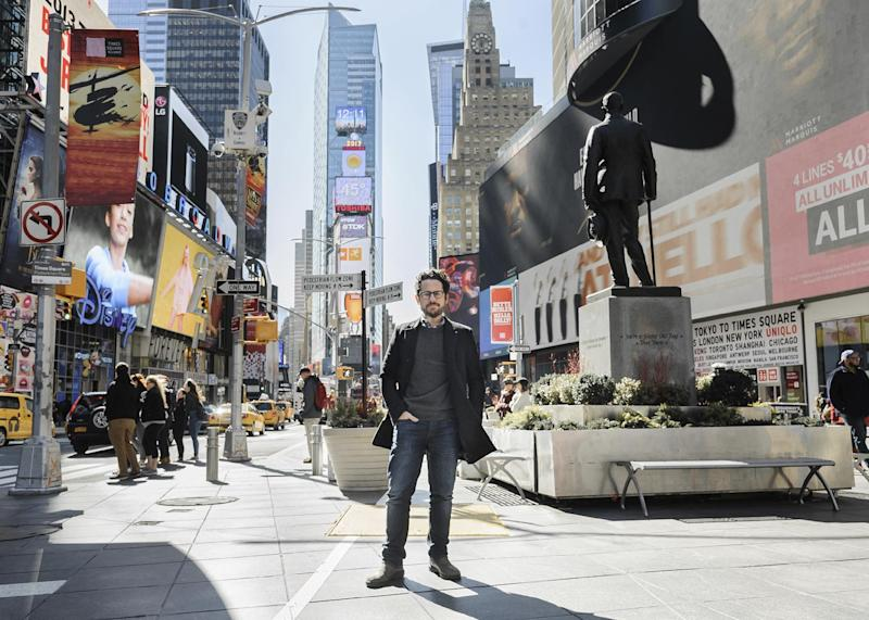 "In this March 2, 2017 photo, director-producer J.J. Abrams poses for a portrait to promote ""The Play That Goes Wrong"" in Times Square in New York. (Photo by Christopher Smith/Invision/AP)"