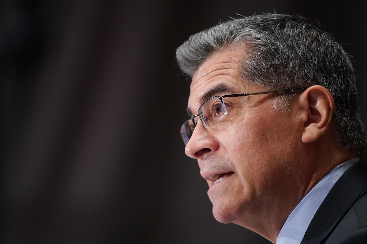 Xavier Becerra, nominee for Secretary of Health and Human Services (HHS), testifies at his confirmation hearing before the Senate Health, Education, Labor and Pensions Committee on February 23, 2021 in Washington, DC. (Leigh Vogel-Pool/Getty Images)