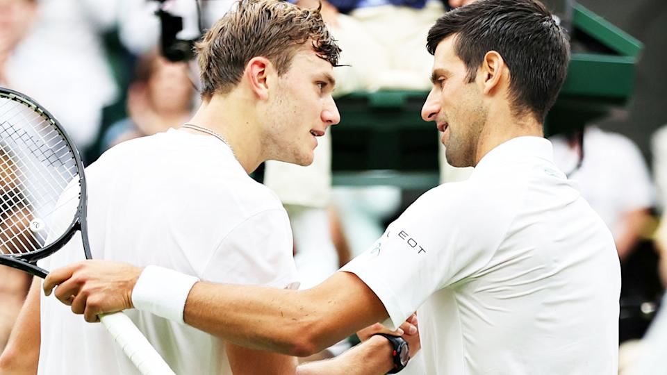Novak Djokovic and Jack Draper, pictured here after their Wimbledon clash.