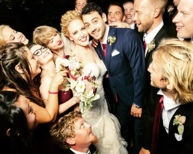 "<p>Here's bridesmaid Taylor Swift in action! Her bff Abigail Anderson Lucier shared a throwback of her summer wedding in Martha's Vineyard, writing, ""Nothing will ever compare to the love and support our wedding party provided us on this special day of ours. We [heart] you all!"" (Photo: <a href=""https://www.instagram.com/p/BZ6tk7Pn9U9/?hl=en&taken-by=abigail_lauren"" rel=""nofollow noopener"" target=""_blank"" data-ylk=""slk:Abigail Anderson via Instagram"" class=""link rapid-noclick-resp"">Abigail Anderson via Instagram</a>) </p>"