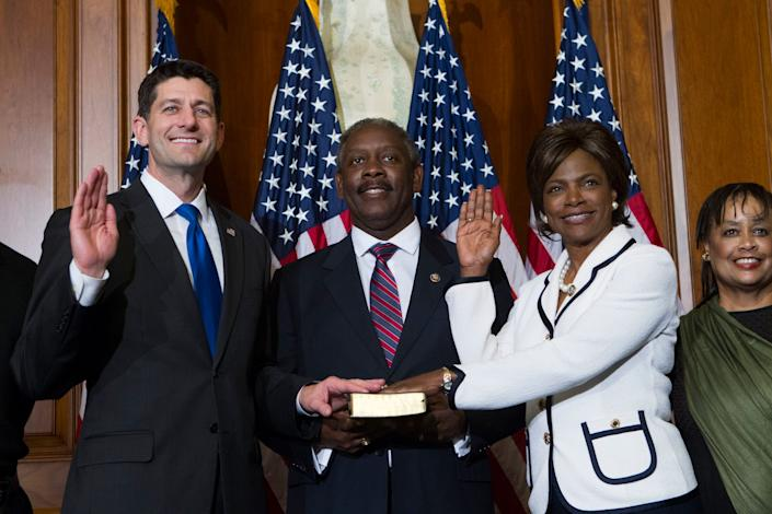 Speaker Paul Ryan administers the House oath of office to Rep. Val Demings, D-Fla., during a mock swearing in ceremony on Capitol Hill in Washington, Tuesday, Jan. 3, 2017, as the 115th Congress began.