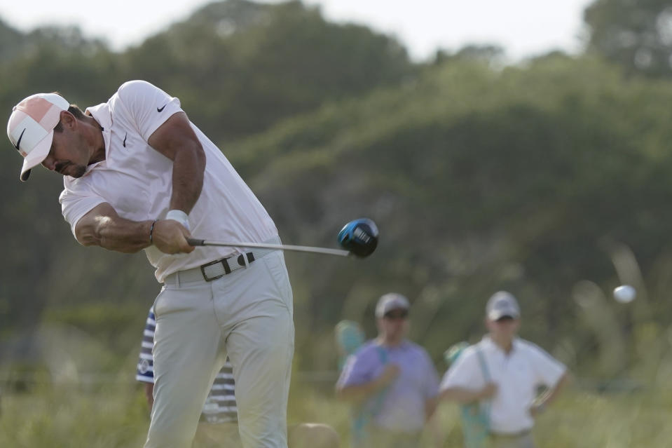 Brooks Koepka works on the 16th hole during the third round at the PGA Championship golf tournament on the Ocean Course, Saturday, May 22, 2021, in Kiawah Island, S.C. (AP Photo/Matt York)