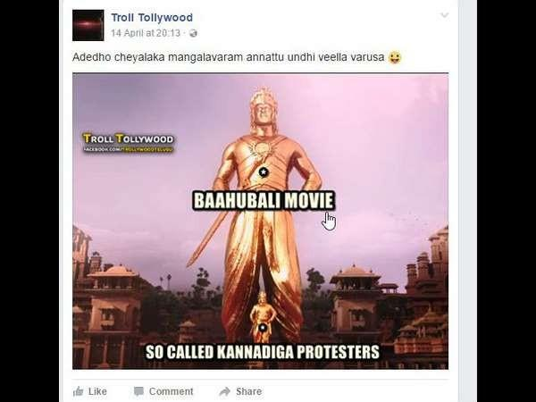 The fans of Baahubali troll Kannadigas