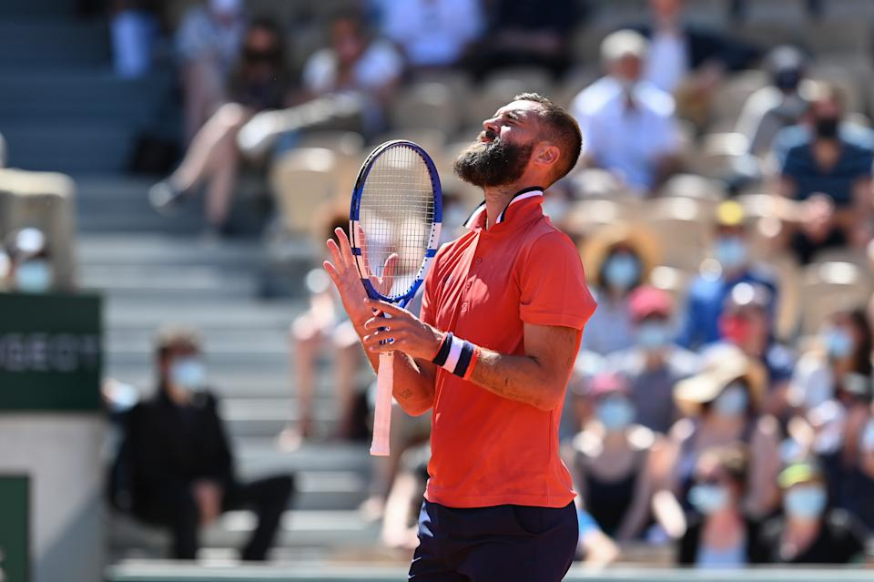 Benoit Paire (pictured) becomes frustrated during his French Open match.