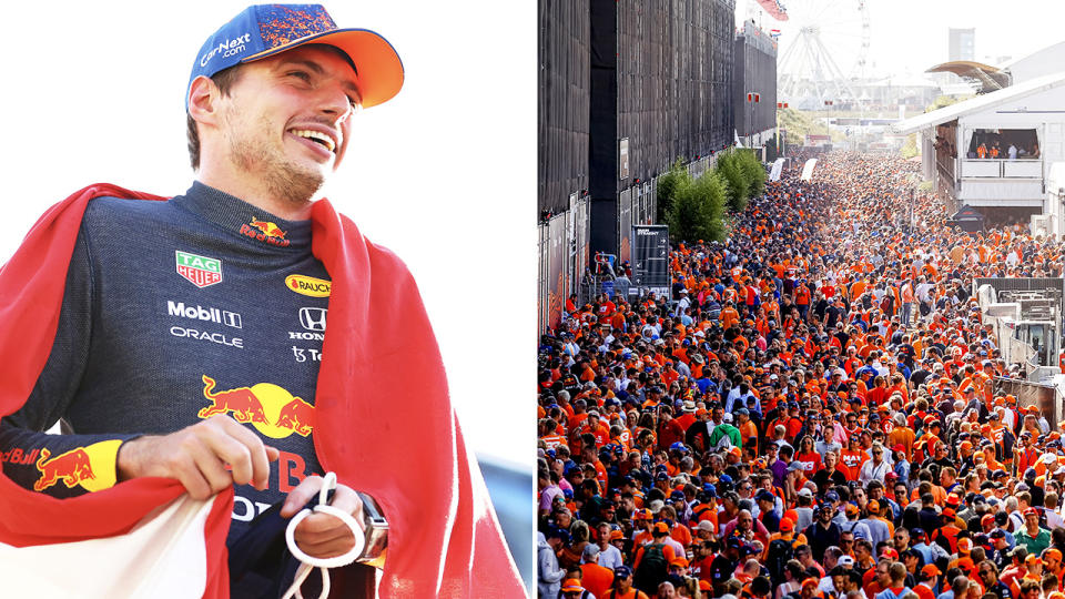 Max Verstappen, pictured here after becoming the first Dutch driver to win his home Grand Prix.
