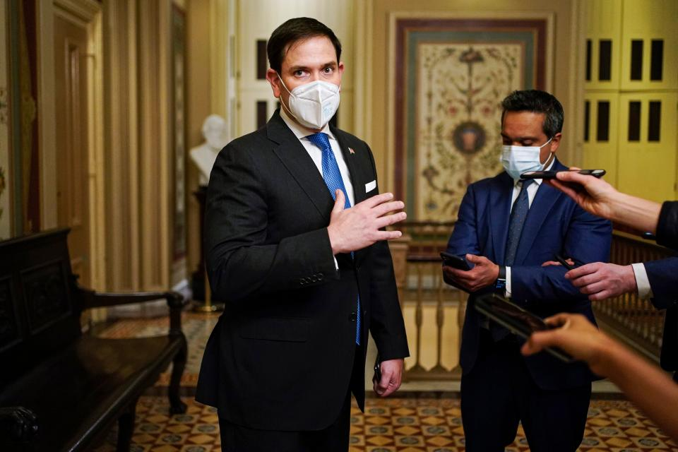 Senator Marco Rubio (R-FL) speaks to the press after the second day of former US President Donald Trump's impeachment trial before the Senate on Capitol Hill February 10, 2021, in Washington, DC. (Joshua Roberts/AFP via Getty Images)