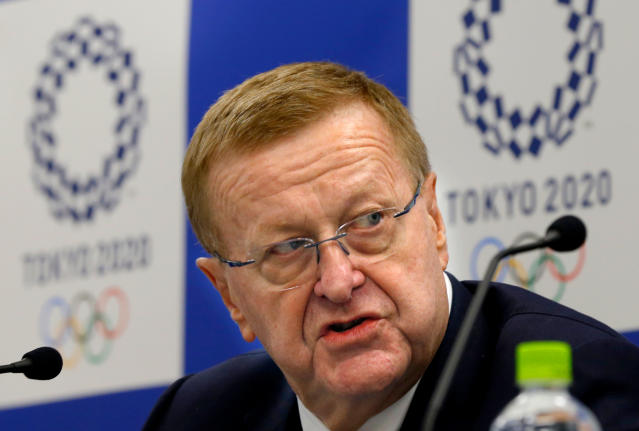 FILE - In this Dec. 13, 2017, file photo, International Olympic Committee (IOC) Vice President John Coates speaks during a joint press conference with Tokyo 2020 Olympics President Yoshiro Mori in Tokyo. Coates, the head of the IOC inspection team visiting Tokyo as it prepares for the 2020 Olympics, warned local organizers on Monday, April 23, 2018 to get ready for some complaints. Coates says organizers are entering a phase where questions from stakeholders become very pragmatic and very urgent. (AP Photo/Shizuo Kambayashi, File)