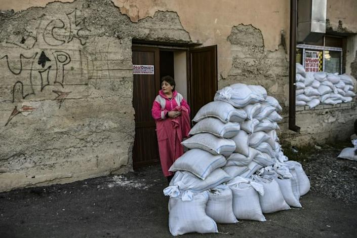 Some buildings in Stepanakert have been turned into makeshift shelters