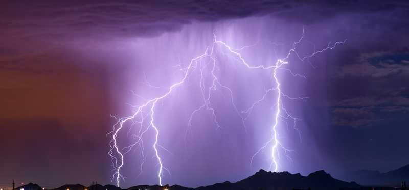 A lightning storm at night.