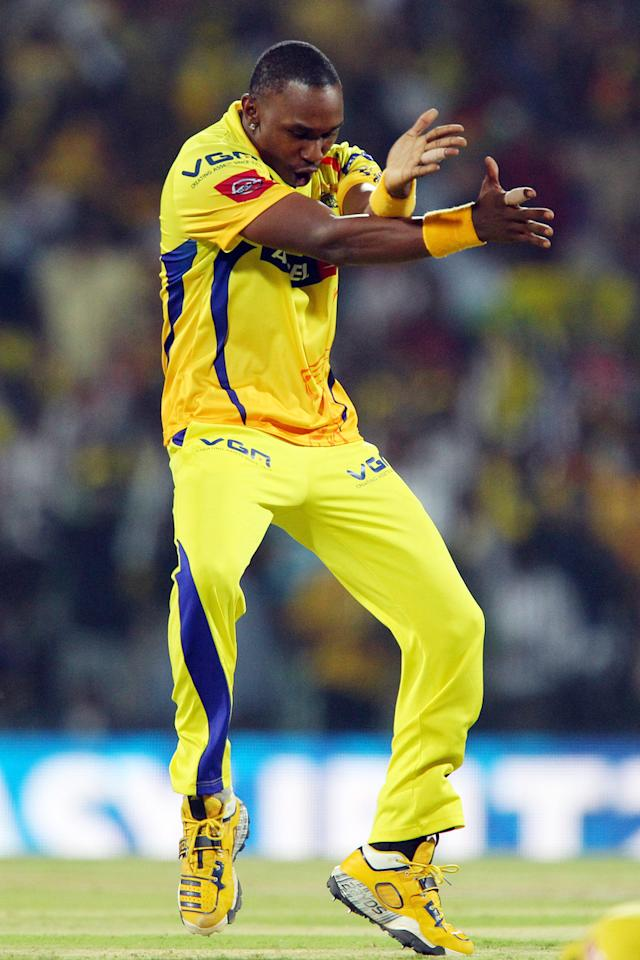 Dwayne Bravo celebrates the wicket of Jacques Kallis during match 38 of the Pepsi Indian Premier League between The Chennai Superkings and the Kolkata Knight Riders held at the MA Chidambaram Stadiumin Chennai on the 28th April 2013. (BCCI)