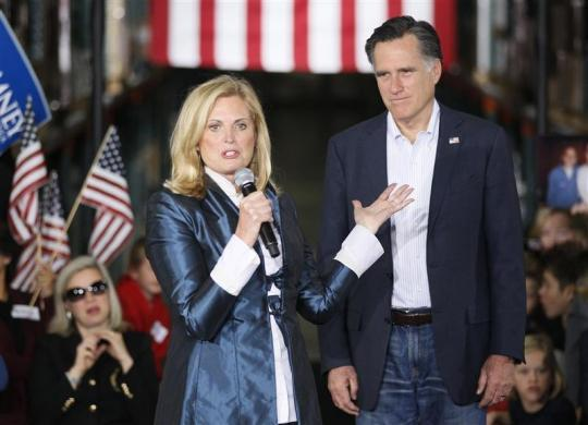 Ann Romney introduces her husband, Republican presidential candidate Mitt Romney, at a campaign rally in Las Vegas February 1, 2012.