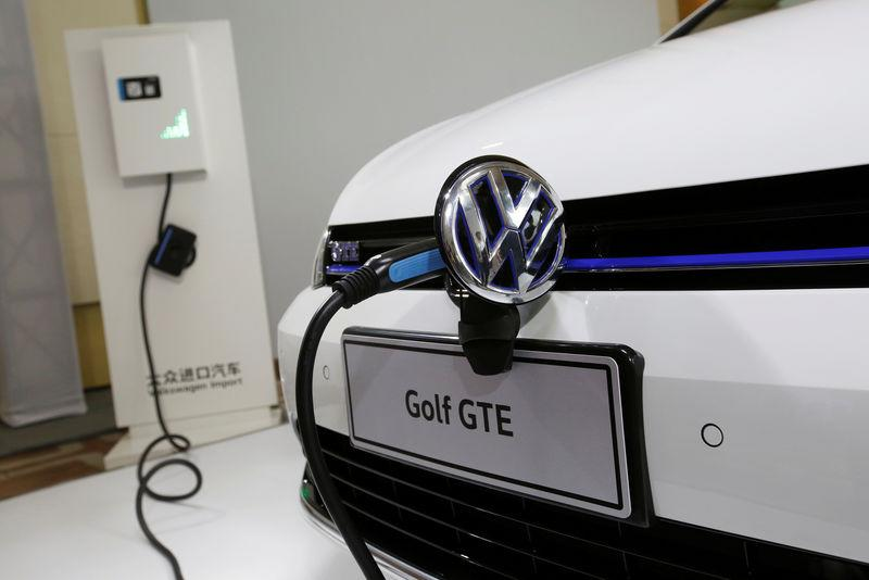A Volkswagen Golf GTE is shown during a workshop in Guangzhou