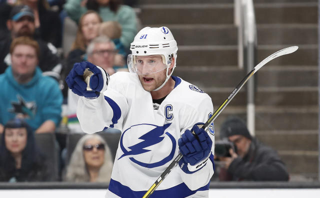 Tampa Bay Lightning center Steven Stamkos celebrates after scoring a goal during the second period of the team's NHL hockey game against the San Jose Sharks in San Jose, Calif., Saturday, Feb. 1, 2020. (AP Photo/Josie Lepe)