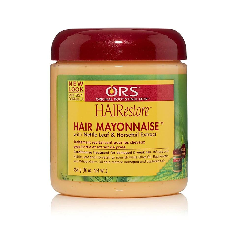 """Ors Hairestore Hair Mayonnaise is a favorite among people with curly or kinky hair, but it works great on straight or wavy textures as well. This protein-rich treatment combines wheat germ oil, <a href=""""https://www.allure.com/gallery/best-olive-oil-hair-skin-care-products?mbid=synd_yahoo_rss"""" rel=""""nofollow noopener"""" target=""""_blank"""" data-ylk=""""slk:olive oil"""" class=""""link rapid-noclick-resp"""">olive oil</a>, and egg protein to strengthen your damaged or dry hair. Hairstylist Andrew Fitzsimons likes to use this treatment for any clients with chemically or heat-damaged hair. """"Moisturize ends in the shower and let it sit there for about 10 minutes,"""" he recommends prior to washing and blow-drying."""