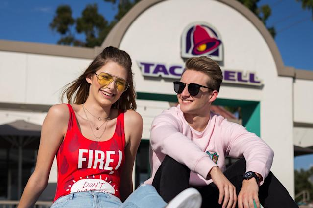 Models for the new <span>Forever 21 x Taco Bell collection</span> include <span>Brittany Creech</span> and <span>Andrew McBurnie</span>, both of whom <span>famously took their senior portraits</span> at Taco Bell. (Taco Bell)