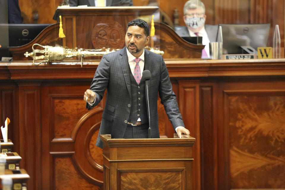 South Carolina Rep. Justin Bamberg, D-Bamberg, speaks against a proposal to add firing squads to the state's methods of execution along with the electric chair and lethal injection on Wednesday, May 5, 2021, in Columbia, S.C. The state hasn't executed anyone in 10 years because it can no longer obtain the lethal injection drugs. (AP Photo/Jeffrey Collins)