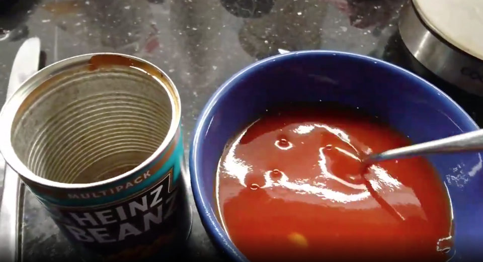 The tin mostly contained bean sauce (Picture: SWNS)