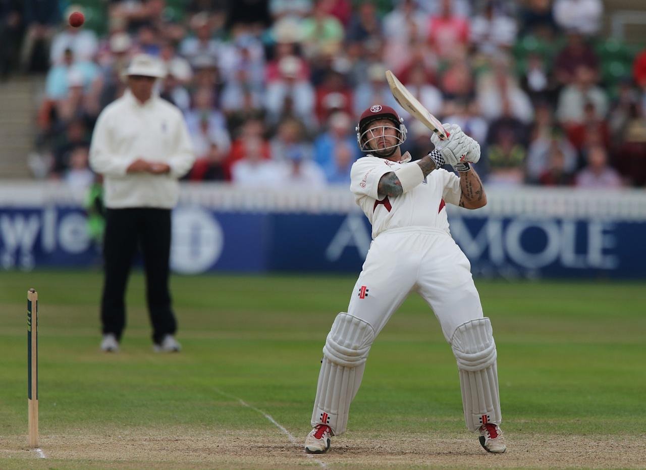 Somerset's Peter Trego celebrates his 50 during the International Tour match at the County Ground, Taunton.
