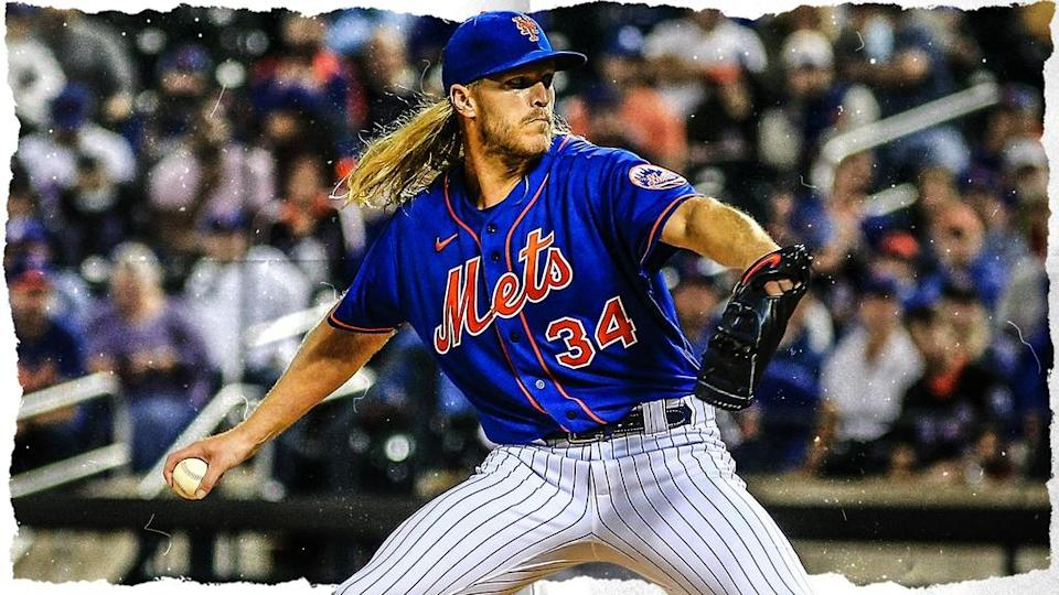 Noah Syndergaard treated image, pitching front side in blue jersey with out-of-focus crowd background