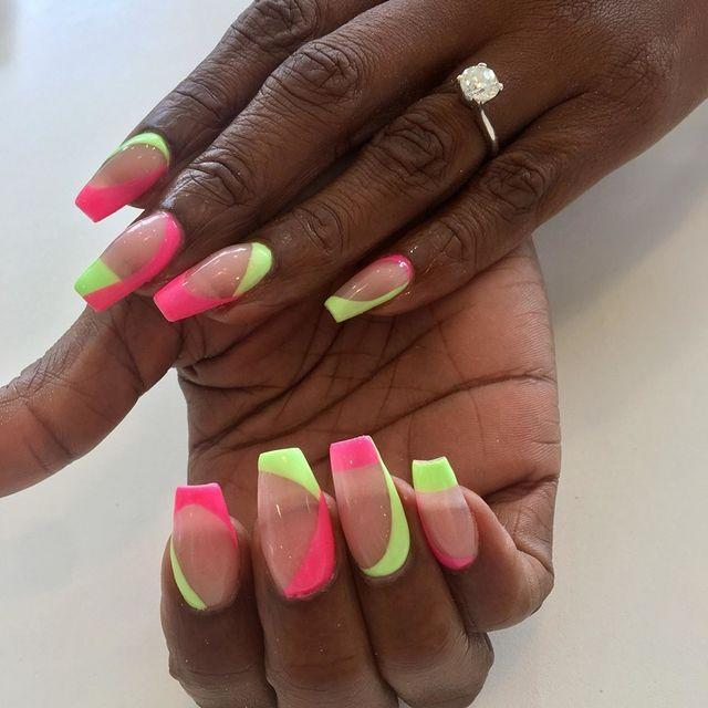 """<p>Bring the summer vibes to your nails with this twist of pink and green on a sheer acrylic base.</p><p><a href=""""https://www.instagram.com/p/Bxhj_9Phv3G/"""" rel=""""nofollow noopener"""" target=""""_blank"""" data-ylk=""""slk:See the original post on Instagram"""" class=""""link rapid-noclick-resp"""">See the original post on Instagram</a></p>"""