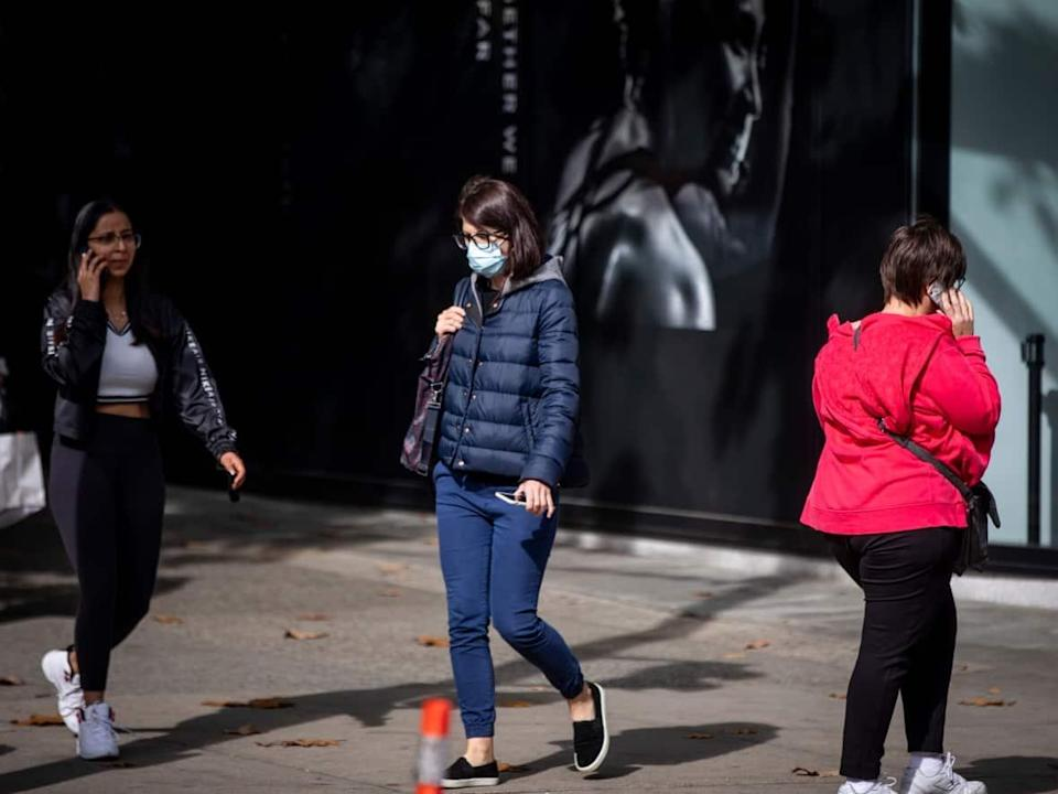 Pedestrians in downtown Vancouver on Oct. 4.  (Ben Nelms/CBC - image credit)