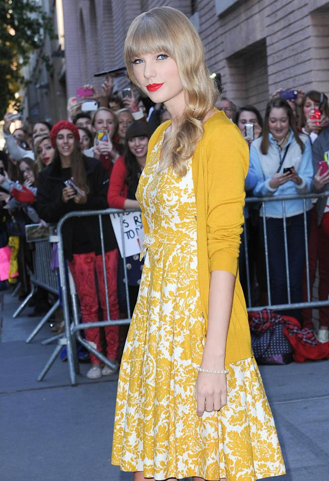 "October 22, 2012: Taylor Swift leaves ABC Studios in New York City after an appearance on ""Katie"" to promote her new album, ""Red.""