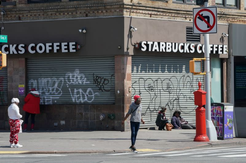 FILE PHOTO: A Starbucks Coffee in Harlem is closed, as retail sales suffer record drop during the outbreak of the coronavirus disease (COVID19) in New York