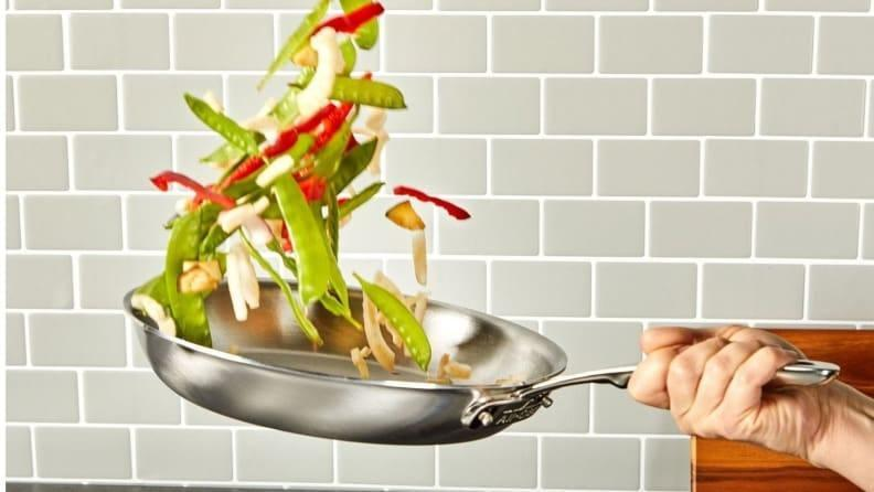 The 10.5-inch skillet allows you to toss vegetables with ease.