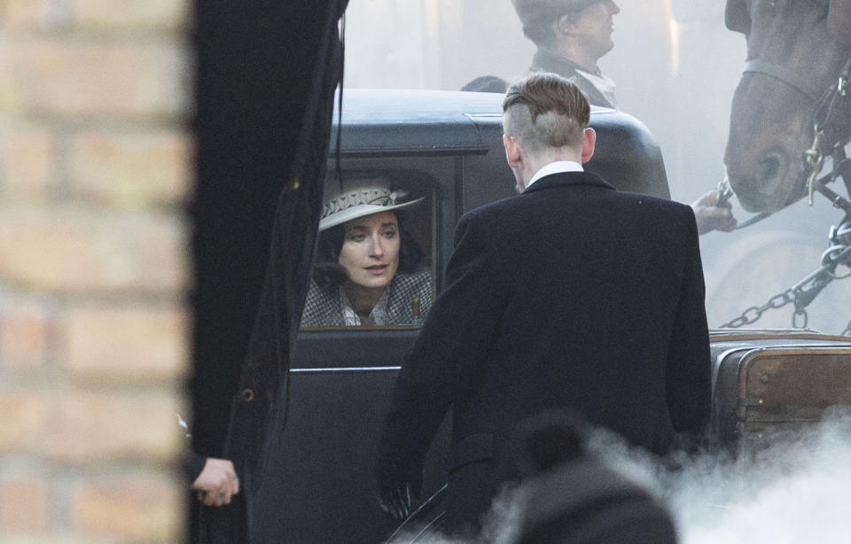 Paul Anderson, who plays Arthur Shelby, and Natasha OÕKeeffe, who plays Lizzie stark, during a scene. The filming of Peaky Bliders season 6 continues, in Manchester, pictured in Greater Manchester, March 2 2021. (SWNS)