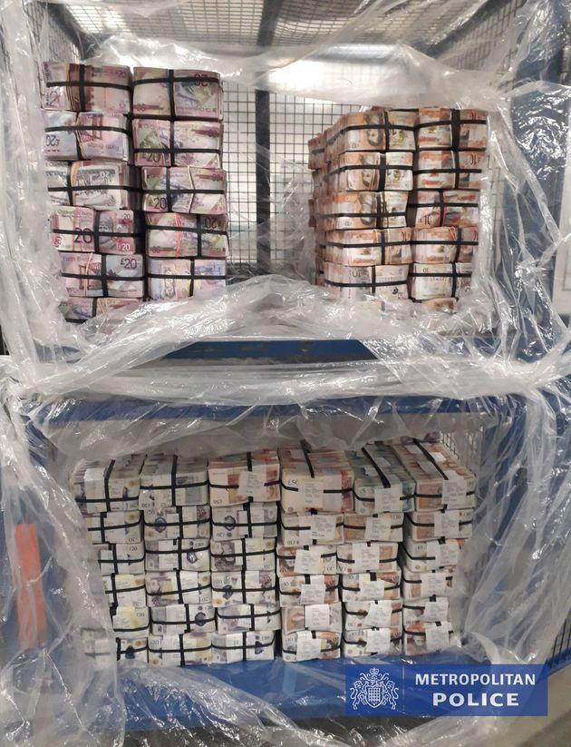 Undated handout photo issued by the Metropolitan Police of £5.1m in cash seized in Operation Venetic.