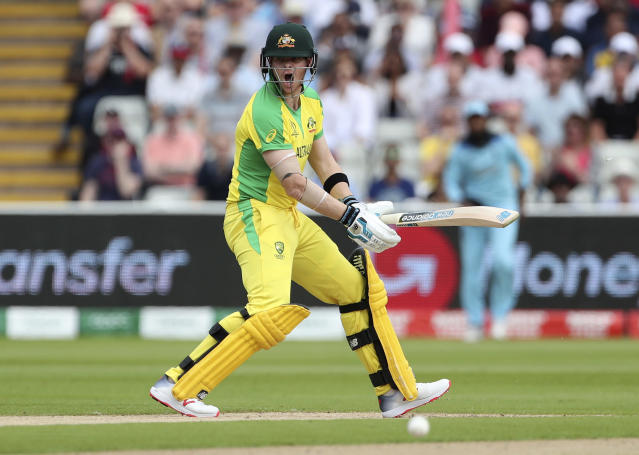 Australia's Steve Smith reacts after playing a shot during the Cricket World Cup semi-final match between England and Australia at Edgbaston in Birmingham, England, Thursday, July 11, 2019. (AP Photo/Aijaz Rahi)