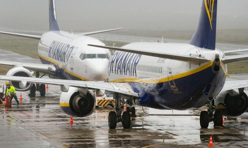 Passenger aircrafts of the Irish low-cost airline company Ryanair on the tarmac of the airport in Weeze, western Germany