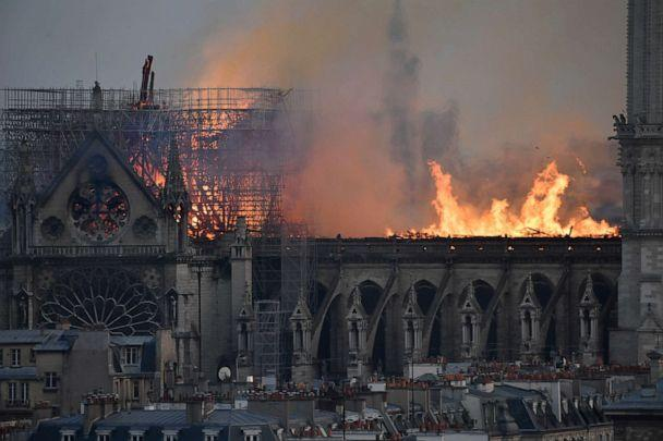 PHOTO: Flames burning the roof of the Notre-Dame Cathedral in Paris, April 15, 2019. (Julien De Rosa/EPA/Shutterstock)