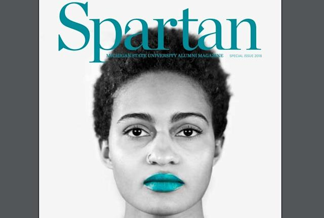 "Before Michigan State interim president John Engler demanded changes, the original cover of the special issue of ""Spartan"" magazine featured a tribute to the victims of the Larry Nassar scandal. (The State News)"