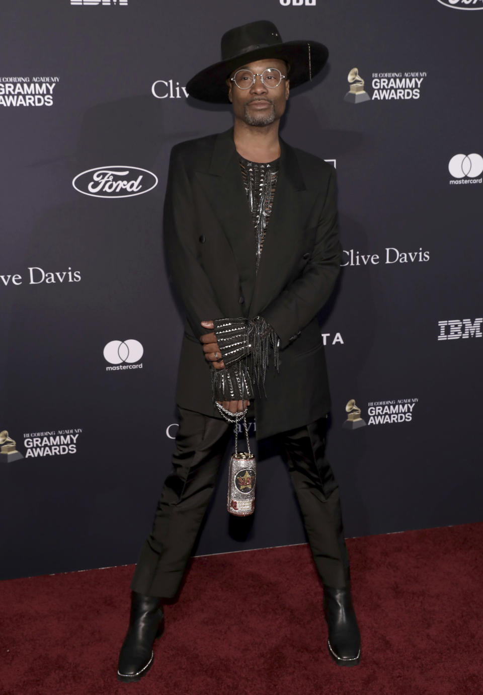 Billy Porter arrives at the Pre-Grammy Gala And Salute To Industry Icons at the Beverly Hilton Hotel on Saturday, Jan. 25, 2020, in Beverly Hills, Calif. (Photo by Mark Von Holden/Invision/AP)