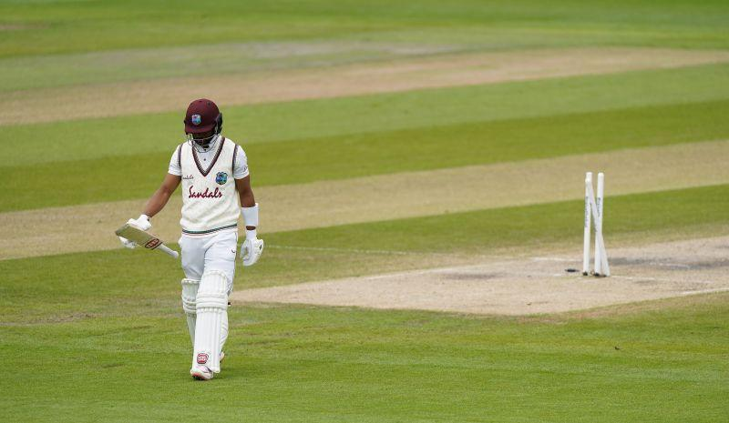 Shai Hope walking back after getting dismissed in the second Test against England