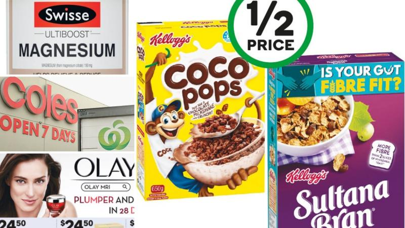Swisse vitamins, Kellogg's breakfast cereals and Olay cosmetic cream on sale for half-price at Woolworths and Coles.