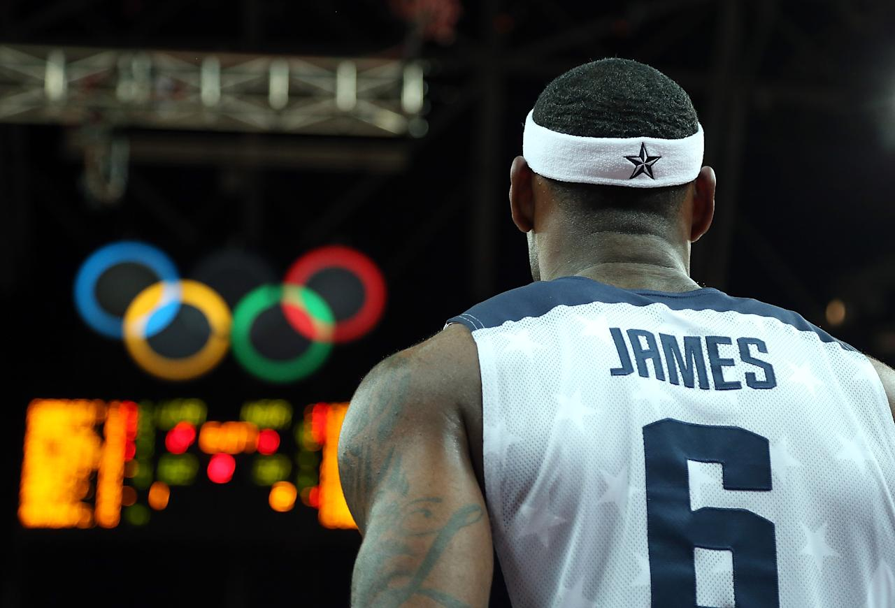 Lebron James #6 of United States stands on the court in the first half against Nigeria during the Men's Basketball Preliminary Round match on Day 6 of the London 2012 Olympic Games at Basketball Arena on August 2, 2012 in London, England.  (Photo by Christian Petersen/Getty Images)