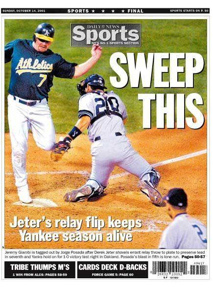 """<p><strong>Oct. 13, 2001</strong>: Already down two games to the Oakland Athletics in the AL Divisional Series, Yankees captain Derek Jeter makes one of the most athletic plays of his career to propel his team to a game (and series) victory. In the bottom of the 10th, Jeremy Giambi of the A's strokes a two-out single, followed by a line drive from Terrence Long. As the slow-footed Giambi lumbers around the bases, Jeter vacates his shortstop position and runs to the first base line, snaring a throw from outfielder Shane Spencer and making a backhand flip to home plate, barely nailing Giambi. """"You're out to win. Baseball, board games. I hate to lose,"""" Jeter told Frommer of the Miracle Flip.<br> </p>"""