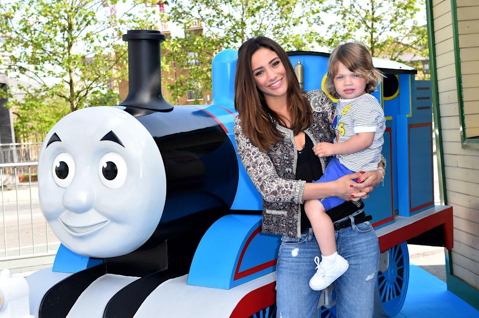 Frankie Bridge and son Parker, 2, attend the premiere of ÔThe Great RaceÕ, the latest Thomas and Friends film, at Kings Cross Theatre, London.