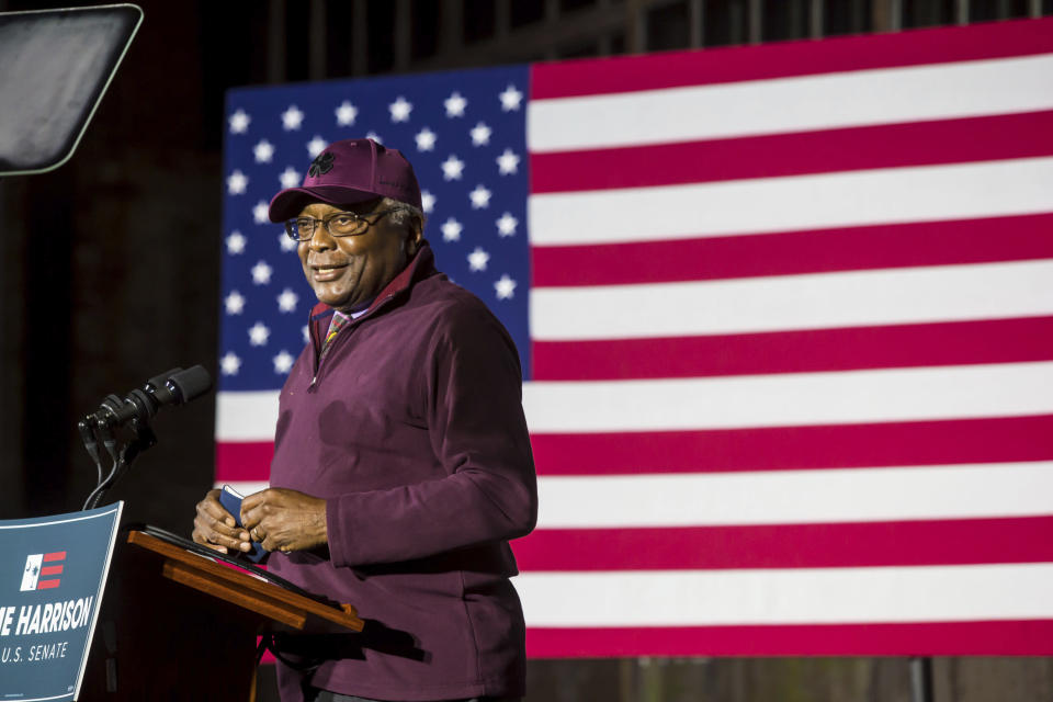 U.S. Representative James Clyburn of South Carolina introduces U.S. Senate candidate Jaime Harrison at an election watch party at Hunter-Gatherer at Curtiss Wright Hangar in Columbia, SC. Harrison conceded the election to incumbent Lindsey Graham. (Jeff Blake/The State via AP)